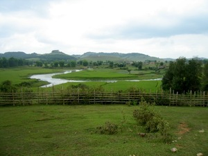 Rice fields and mountains in Phonesavan, Laos