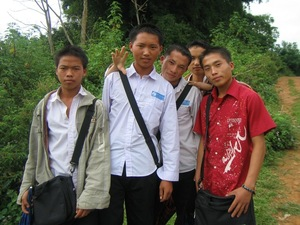 A group of Hmong highschoolers in Muang Khun, Laos